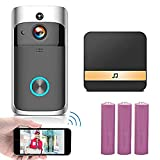 Video Doorbell Camera, WiFi Doorbell Camera Wireless with Smart PIR Motion Detector, Night Vision, Wide Angle, Real-Time Notification, Two-Way Talk UK-1【New Version】