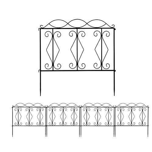 DOLMER 2424' Fashionable and Beautiful Wave Top Iron Art Garden Fence Quality Garden Fences Iron Border Fencing Animal Barrier for Outdoors