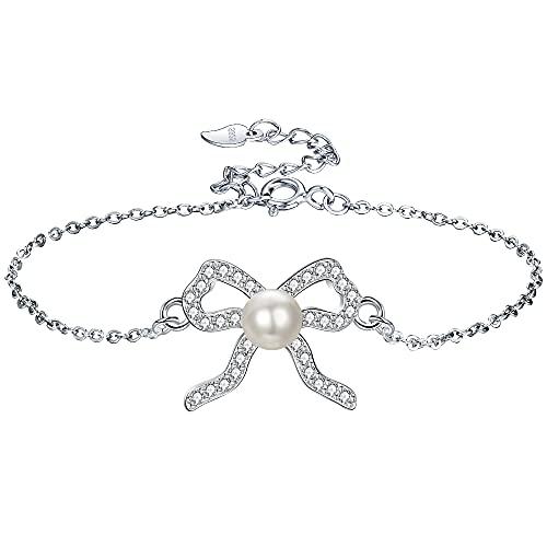 JENDEAR Mujer Perlas Pulsera de Plata de ley 925 Ajustable, regalo elegante para mamá, Aniversario, San Valentín