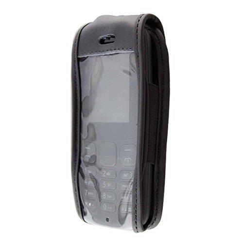 caseroxx Ledertasche mit Gürtelclip für Nokia 105 (2017) aus Echtleder, Handyhülle für Gürtel (mit Sichtfenster aus schmutzabweisender Klarsichtfolie in schwarz)