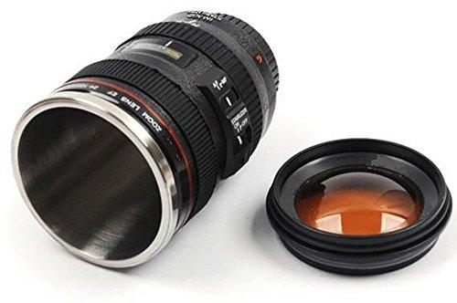 Tazza a forma di obbiettivo fotografico reflex con tappo a vite obiettivo macchina fotografica interno in alluminio A6
