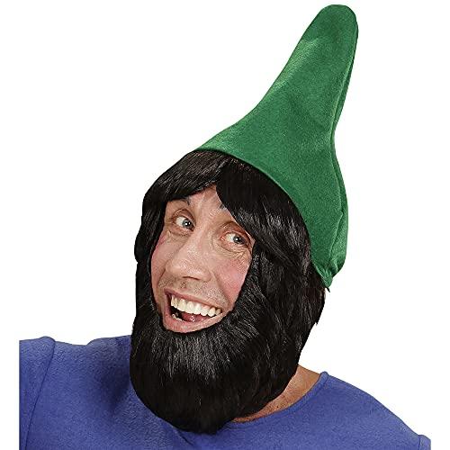 WIDMANN 00825Cappello Gnomo da Giardino con Parrucca e Barba, per Adulti