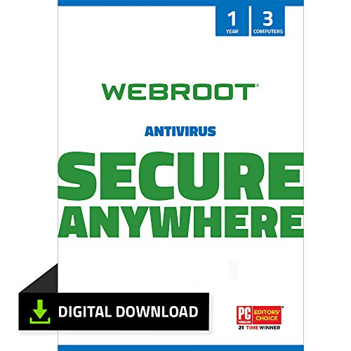 Webroot Antivirus Software 2021 | 3 Device | 1 Year | PC Download | Includes Secure Web Browsing and Malware Protection