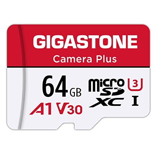 Gigastone 64 GB Tarjeta de Memoria Micro SD, Camera Plus, Compatible con Nintendo Switch, MAX. 95/35MB/s Lec/Esc, Grabación de Video 4K, Micro SDXC UHS-I A1 U3 Clase 10, con Adaptador