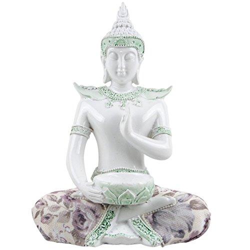 Witte Glans Thaise Boeddha Meditatie Lotus Almen Bowl Thee Lichthouder