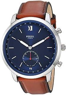 Fossil - Reloj inteligente híbrido de acero inoxidable para hombre con correa de piel, marrón, 22 (modelo: FTW1178)