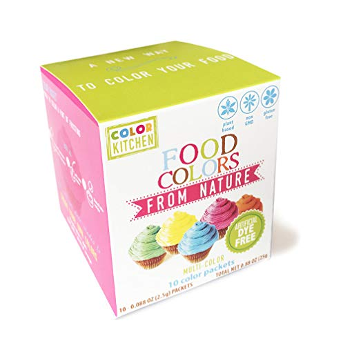 ColorKitchen Food Coloring Packets (10 Pack) - Made with Plant-Based Colors Artificial Dye-free, Vegan, Natural Baking, Frosting Color