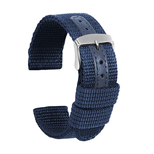 Ullchro Nylon Correa Reloj Calidad Alta Lienzo Correa Relojes Militar del ejército - 18mm, 20mm, 22mm, 24mm Correa Reloj con Hebilla de Acero Inoxidable (22mm, Azul Profundo)
