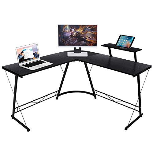 Computertisch L-förmiger Büro Schreibtisch Holz Eckschreibtisch Computer Workstation Großer Computer Schreibtisch PC Laptop Studie Spieltisch Workstation für das Home Office, 129x46x71cm, Schwarz