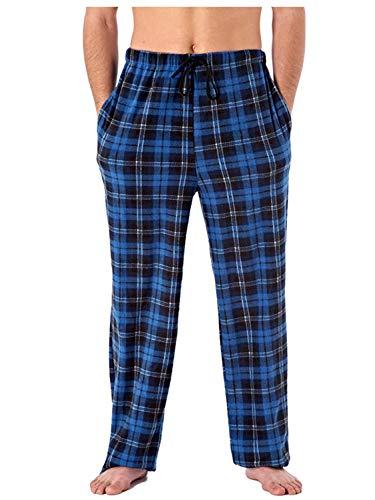 Pyjama-Hose aus Polarfleece, für Herren, klassisch, kariert Gr. L, blau kariert