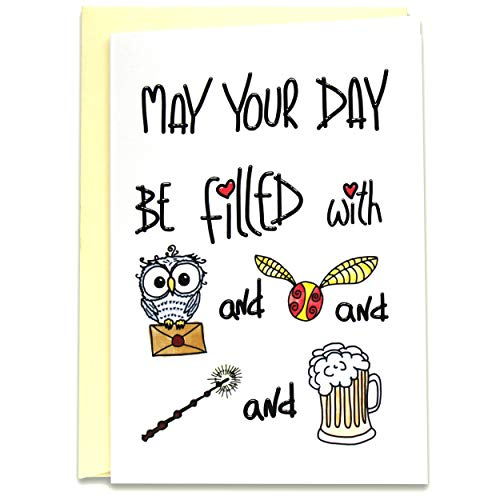 Funny Magical Happy Birthday Card - May Your Day Be Filled with Owl Post, Magic, Mulled Mead