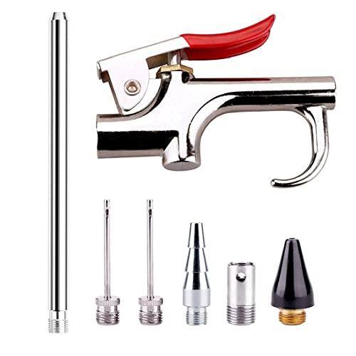 Aire boquilla de soplado Kit de herramientas Kit de herramientas neumáticas Boquilla compresor con 6 boquillas intercambiables de plata de color caqui