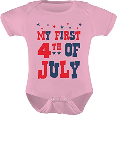 Tstars My First 4th of July Baby Boy Girl Outfit American Flag USA Baby Bodysuit 6M Pink