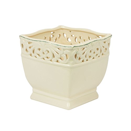 Keramik Übertopf 12 x 12 cm creme shabby Blumentopf Topf vintage