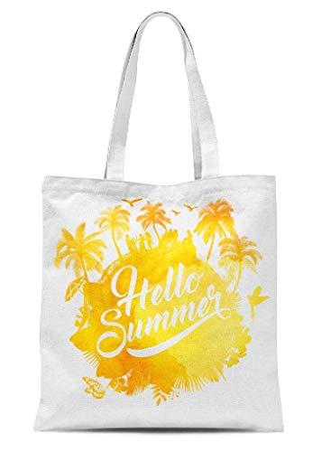 Nostalgische Canvas-Tragetasche, Hello Summer Wasserfarben, mehrere Taschen für Ausflüge, Fitnessstudio, Shopping