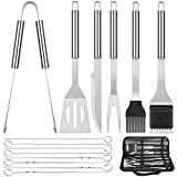 meicent Grill Accessories BBQ Tool Set, 14 PCS Stainless Steel Grilling Utensils Set with Knife,...