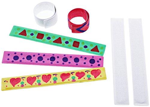 Schnapparmbänder zum Bemalen (5 Stück, Metallarmband mit Stoffüberzug) - Mitgebsel für Kinder