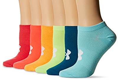Under Armour Women's Essential No Show Socks, 6-Pairs, Color/Assorted, Shoe Size: Womens 6-9
