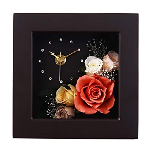 プリザーブドフラワー 時計 花時計 プレゼント 花 掛け時計 おしゃれ 木製 かわいい 北欧 カラフル 壁掛け 置時計 置き時計 お祝い 刻印 名入れ ギフト アレンジメント ピンク 誕生日 ブラウン/ベイクドオレンジ