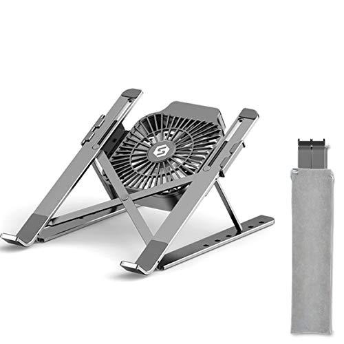 Aiboria Soporte ajustable para portátil de aluminio portátil plegable para portátil con ventilador de refrigeración grande, soporte portátil ligero para portátiles de 10 a 17 pulgadas