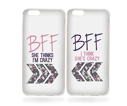 iPhone 6/6s Couple Case-TTOTT 2X Floral Best Friend BFF Matching Couple Cases She's/I'm Crazy Soft Silicone Bumper Cover Case