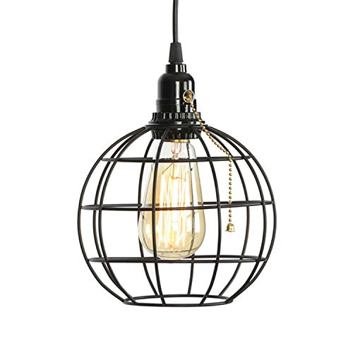 Pull Chain Switch Global Industrial Edison Bulb Black Pendant Light,Max 59.06 Inch Adjustable Rustic Retro Hanging Light Fixture.