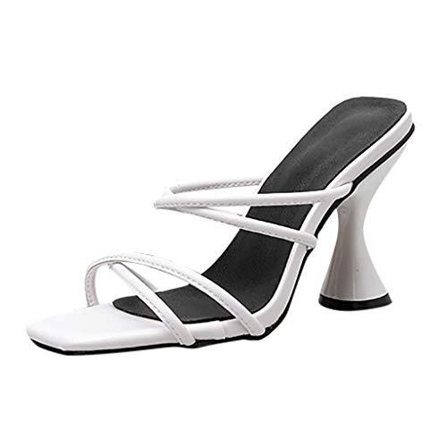 PAOLIAN Zapatos de Mujer Tacon Altas Fiesta Primavera 2020 Sandalias de Mujer Verano Vestir Elegantes Mules Sexy Punta Abierta Chanclas para Mujer Baratas con Rhinestone