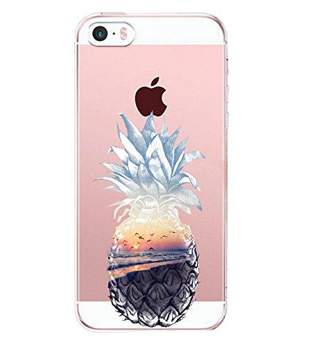 Teryei Coque iPhone 5 / 5S / SE, Silicone TPU Souple Housse 360 degrés Protection [Ultra Mince] Transparent Anti-égratignures Case Anti-Scrach Bumper pour iPhone 5 / 5S / SE (Art 7)