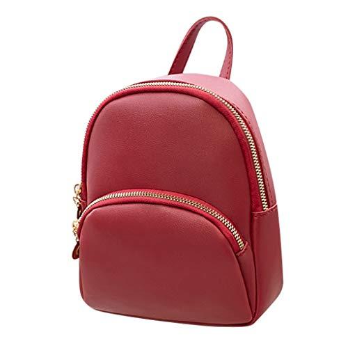 TAMALLU Bag Rucksack Beiläufige Frauen Schulter Einfarbig Reißverschluss Tägliche Handy Handtasche(Rot)