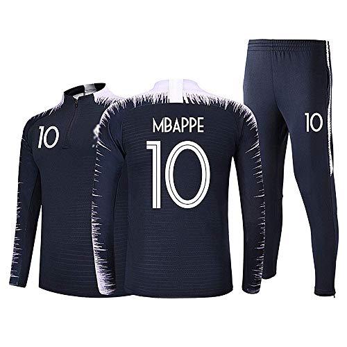 Ensembles de Sport Survêtement de Football Garçon Homme Manches Longues 2 étoiles Maillot de Football 10 Bleu 4XL (Taille 185-190cm)