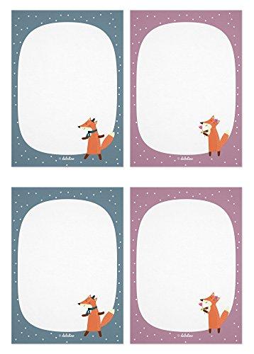 dabelino Notizblock 4er Set für Kinder: Fuchs, Din A6, 25 Blatt (Mitgebsel Kindergeburtstag, Mädchen od. Jungen, Rosa/ Grün)
