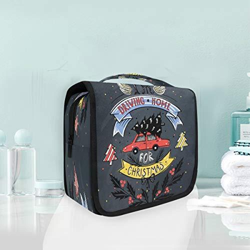 Coche Rojo De Navidad Bolsas de Aseo Neceser de Maquillaje Colgante Plegable Cosmético Bolso de Artículos de Tocado para Mujeres Niñas