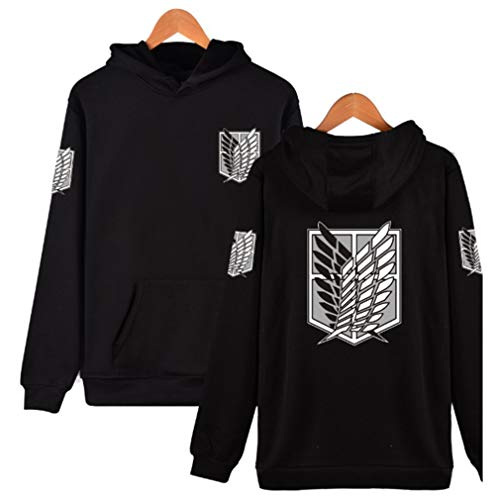 AMOMA Damen Herren Animation Attack On Titan Logo Wings Digitaldruck Hoodie Freizeit Sweatshirt Kapuzenpullover(M,BlackLogo-Black)