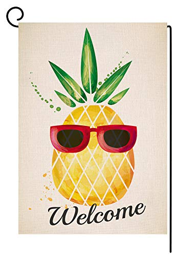 BLKWHT Welecome Summer Pineapple Garden Flag Vertical Double Sided 12.5 x 18 Inch Yard Decor