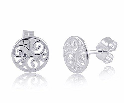 Sterling Silver Celtic Triskelion Stud Earrings 0.31in