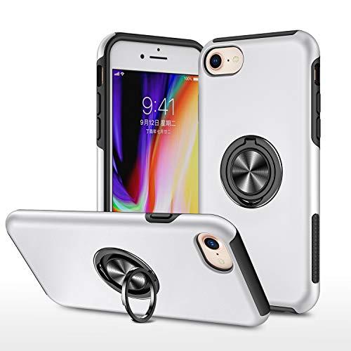 LUSHENG Funda para iPhone 7/8/SE (2020), Funda Protectora para a Prueba de Golpes con Soporte de Anillo,[PC Dura + TPU Suave] Funda para Adecuada para iPhone 7/8/SE (2020) 4.7' - Plata