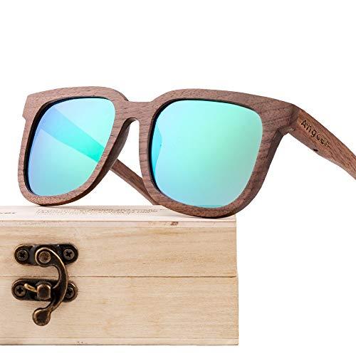 LCSD Gafas de sol para hombre, color negro nogal, con revestimiento de madera, polarizado, estilo retro, unisex, lentes multicolores, protección UV400 (color: verde)