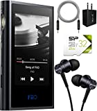 FiiO M9 Bluetooth Audio Player Bundle with Silicon Power 32GB Class 10 SDHC MicroSD Card, 1MORE Piston Fit E1009 Earphones (Space Gray), Blucoil USB Wall Adapter, and 5-FT Audio Aux Cable