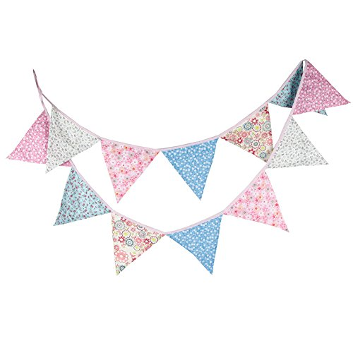 Demarkt 12 Beautiful Colourful Garland Bunting for Outdoor Decoration with Flower Pictures Cotton Total Length 3.2 m (Pink-Blume)