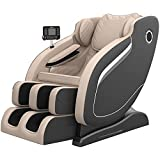 Real Relax Massage Chair, Thai Yoga Stretch 3D SL-Track Zero Gravity, Full Body Shiatsu Massage Chair with Tap, Bluetooth Heating and Foot Roller Massager (Beige)