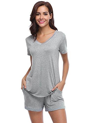 Aiboria Pijama Mujer Verano Corto Ropa de Dormir de Manga Ropa de Dormir Juego de salón Blando 2 Piezas Pijamas