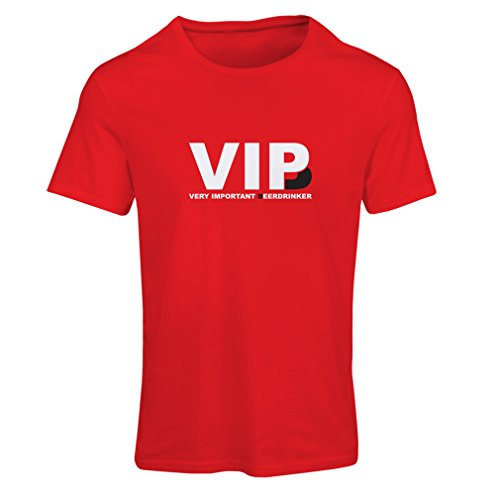 lepni.me Camiseta Mujer Bebedor de Cerveza Muy Importante - Alcohol, Borracho, Citas Divertidas para Beber - Ideas de Regalos chistosos, Ropa de Bar o de Fiesta (X-Large Rojo Blanco)