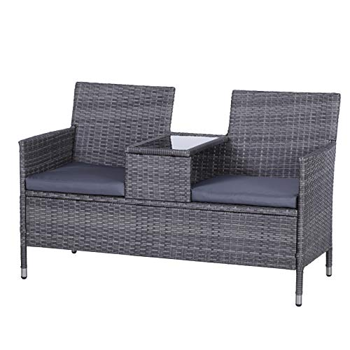 Outsunny Garden Rattan 2 Seater Companion Seat Wicker Love Seat Weave Partner Bench with Cushions Patio Outdoor Furniture - Grey
