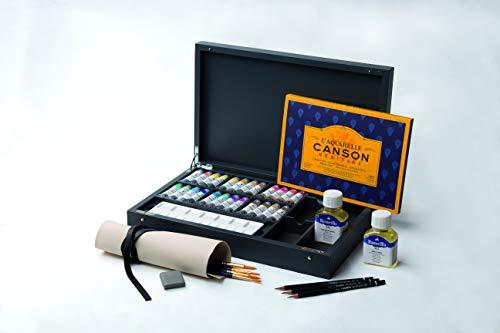 MAIMERI BLU - Caja de pintura (madera de fresno, con 24 tubos de aluminio de 12 ml, incluye accesorios)