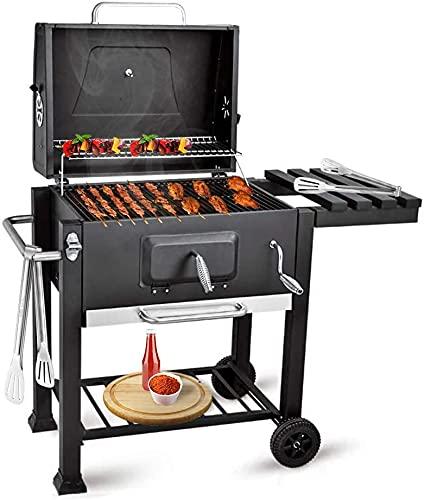 bigzzia Barbecue a carbonella con coperchio, carrello con ripiano laterale e gancio, antracite e...