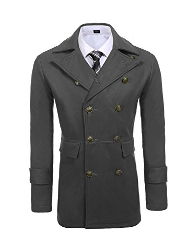 COOFANDY Mens Woolen Overcoat Double Breasted Long Length Notched Collar Trench Pea Coat (Grey-01, Small)