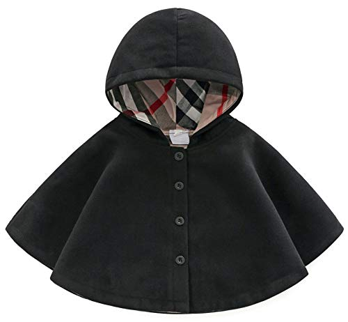 MaxKids SCOFEEL Baby and Toddler Boys & Girls Wool Blend Winter Hooded Outerwear Capes Poncho Coat, Black, 6-12 M