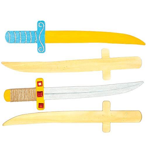 Baker Ross AC853 Ninja-Schwerter aus Holz-ideal für Kunsthandwerk, Geschenke, Andenken und mehr für Kinder (4er-Pack)