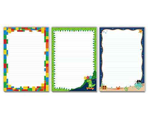 3 blocs de notas infantiles Lego dinosaurios pirata para niños (3 blocs de 25 hojas A4)