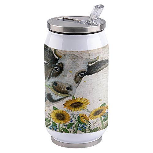 15oz Stainless Steel Liner Vacuum Tumbler Cow with Sunflower Thermal Insulation Vacuum Cup with Straw & Slider Lid Vintage Newpaper Portable Cola Can for Travel, Sports, Camping